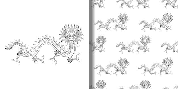 Nadruk azjatyckiego smoka i bezszwowy wzór do nadruków na tekstyliach i koszulkach