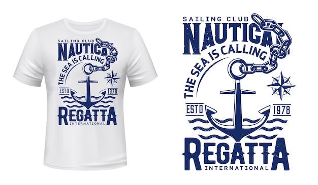 Nadruk kotwicy regat klubu jachtowego