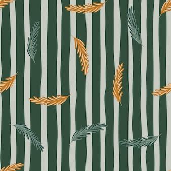 Nadruk losowych sylwetek rozmarynu w kolorze pomarańczowym i niebieskim. pasiasty szary tło. dzieła przyrody. idealny do projektowania tkanin, nadruków na tekstyliach, zawijania, okładek. ilustracja wektorowa.