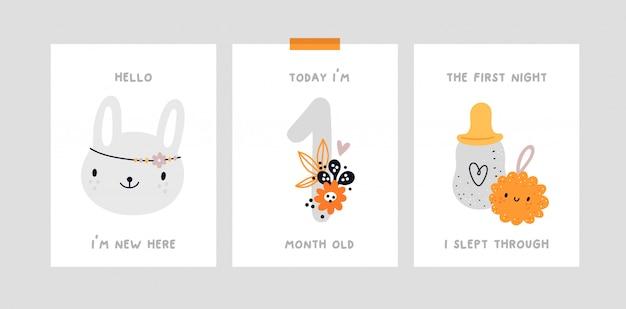 Nadruk na baby shower. karta kamienia milowego dziecka. karta rocznica miesiąca dziecka.