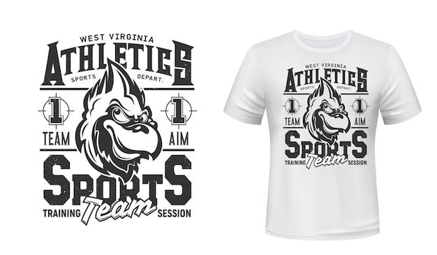 Nadruk na koszulce cardinal bird, herb drużyny sportowej i klubu lekkoatletycznego.