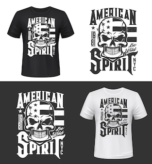 Nadruk na koszulce z czaszką i flagą usa, makieta projektu odzieży. szablon koszulki z typografią american spirit. druk monochromatyczny, na białym tle emblemat maskotka lub etykieta na czarno-białym tle