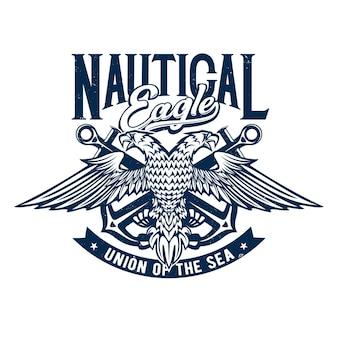 Nadruk na koszulce z dwugłowym orłem i kotwicami, żeglarska maskotka do projektowania odzieży. szablon koszulki z unią typografii morza. grunge wydruku, na białym tle emblemat lub etykiety na białym tle