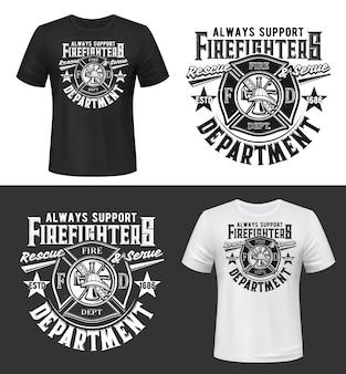 Nadruk na koszulce z hełmem strażackim, toporem, drabiną i wieżą ciśnień
