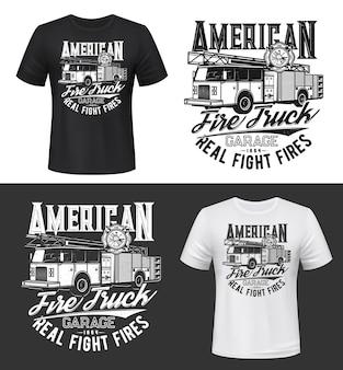 Nadruk na koszulce z makietą amerykańskiego wozu strażackiego