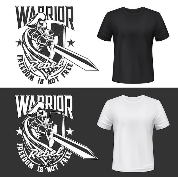 Nadruk na koszulce z rycerzem i mieczem, średniowieczny wojownik w hełmie