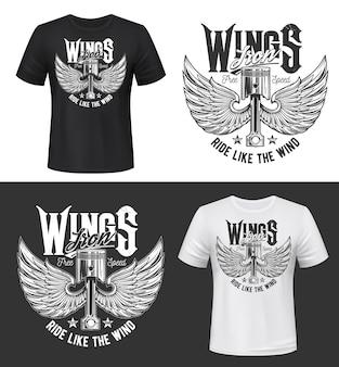 Nadruk na koszulce ze skrzydlatym zaworem silnika samochodu. retro część samochodowa z ptakami lub anielskimi skrzydłami i typografią jeżdżącą jak wiatr. odzież klubowa wyścigów, szablon nadruku koszulki vintage