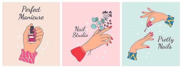 Nadruk na paznokcie. plakaty do salonu piękności z kobiecymi rękami. wypielęgnowane palce z pomalowanymi polerowanymi paznokciami. spa modny design wektor zestaw. ręka trzyma gałęzie roślin i butelki