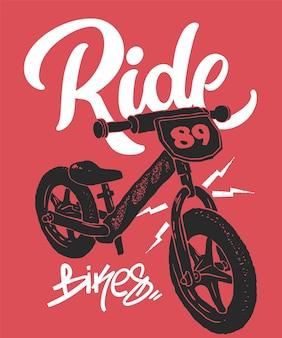 Nadruk na rowerze równowagi, grafika na t-shirt, ilustracja.
