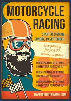 Nadruk przedstawiający wyścigi motocyklowe
