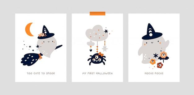 Nadruk przedszkola, plakat z małym słodkim duchem. kamienie milowe ustawione na imprezę halloween.