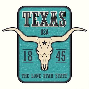 Nadruk stanowy w teksasie z czaszką longhorn.