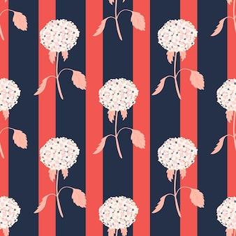 Nadruk sylwetki kwiatu hortensji w kolorze białym. różowe i granatowe paski w tle. ilustracja wektorowa do sezonowych wydruków tekstylnych, tkanin, banerów, teł i tapet.