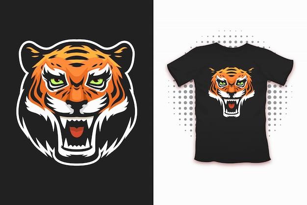 Nadruk tygrysa na projekt koszulki