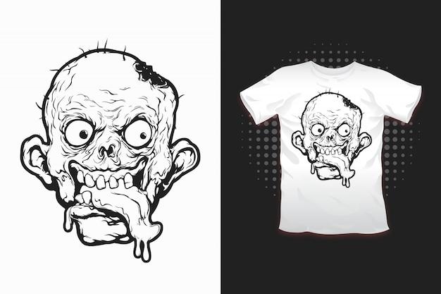 Nadruk zombie dla projektu koszulki