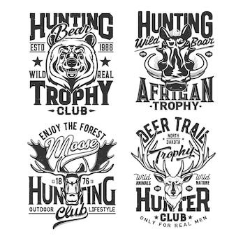 Nadruki na koszulkach klubu myśliwskiego, trofeum zwierząt polowania na safari, emblematy wektorowe. polowanie na koszulki z nadrukami dzikich jeleni, łosi, niedźwiedzi leśnych i afrykańskich dzików, przygód myśliwych i trofeów sportowych
