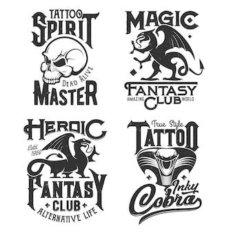 Nadruki smoczego gryfa, czaszki i węża kobry, emblematy salonu tatuażu i klubu fantasy. gotycki średniowieczny gryf lew ptak, czaszka szkieletu i kobra znaki salonu tatuażu i graczy fantasy