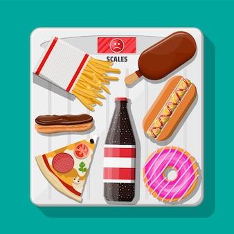 Nadwaga na wadze łazienkowej, fast food na podłodze. pizza, hotdog, pączek, lody, frytki, cola. dieta zdrowego stylu życia, prawidłowe odżywianie, otyłość, przejadanie się. płaska ilustracja wektorowa