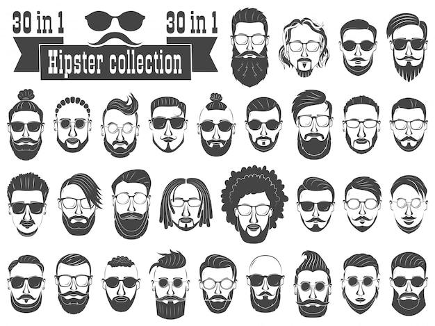 Nadzbiór 30 modnisiów brodatych mężczyzn o różnych fryzurach, wąsach, brodach na białym tle