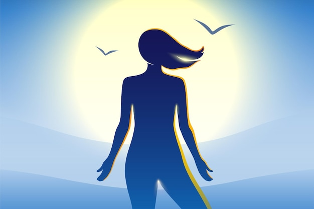 Naga piękna kobieta relaksująca się nad błękitnym morzem podczas zachodu lub wschodu słońca
