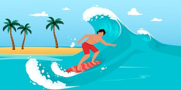 Nagi facet na desce surfingowej jeździ na fali ilustracji wektorowych