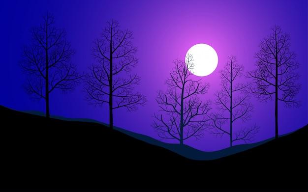 Nagie drzewa i księżyc