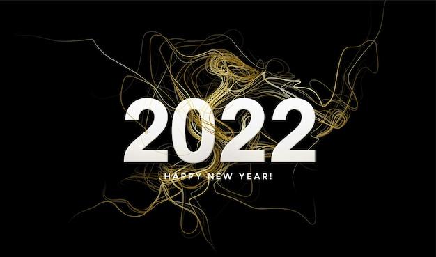 Nagłówek kalendarza 2022 ze złotymi falami wirować ze złotymi iskierkami na czarnym tle. szczęśliwego nowego roku 2022 złote fale tło. ilustracja wektorowa eps10