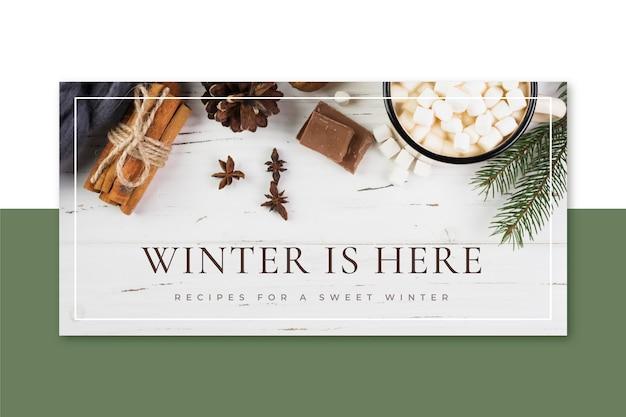 Nagłówek kreatywnego zimowego bloga
