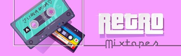 Nagłówek odtwarzacza płyt audio w stylu retro mixtape z kreskówkowym banerem