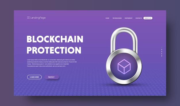 Nagłówek strony internetowej dla technologii blockchain z chromowaną blokadą