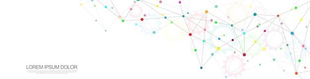 Nagłówek strony internetowej lub projekt banera z abstrakcyjnym tłem geometrycznym i łączeniem kropek i linii. globalne połączenie sieciowe. technologia cyfrowa z tłem splotu i miejscem na tekst.