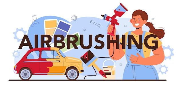 Nagłówek typograficzny aerografu. mechanik w mundurze maluje karoserię pojazdu. profesjonalnie pomaluj samochód na inny kolor za pomocą pistoletu natryskowego. płaska ilustracja wektorowa