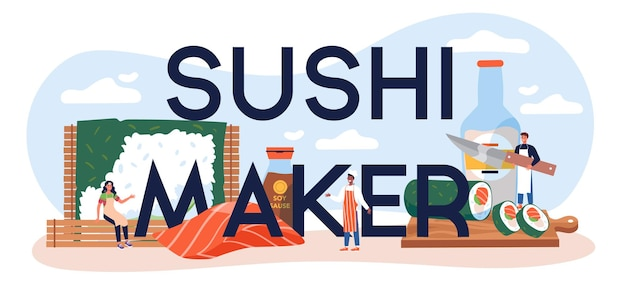Nagłówek typograficzny do ekspresu do sushi