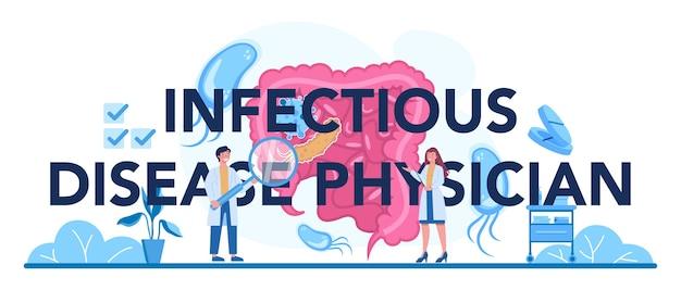 Nagłówek typograficzny lekarza chorób zakaźnych
