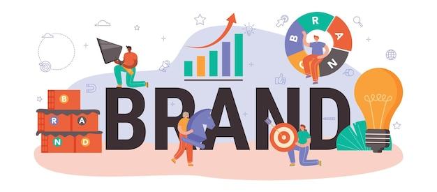 Nagłówek typograficzny marki. menedżer opracowujący unikalny design firmy. rozpoznawalność marki jako strategia marketingowa i technologia promocji. ilustracja na białym tle płaski
