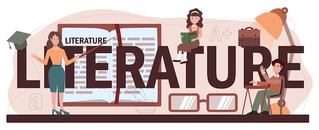 Nagłówek typograficzny przedmiotu literaturoznawstwa. studiuj starożytnego pisarza