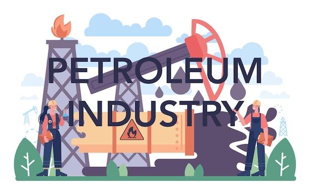 Nagłówek typograficzny przemysłu naftowego. platforma pumpjack wydobywająca ropę naftową z wnętrzności ziemi. produkcja ropy naftowej. ilustracja na białym tle płaski wektor