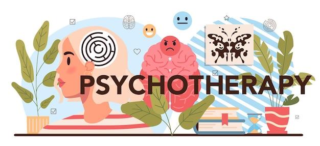 Nagłówek typograficzny psychoterapii. konsultacja psychologa szkolnego. psychiczny
