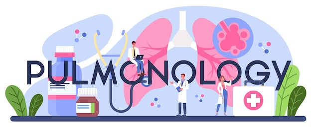 Nagłówek typograficzny pulmonologii. idea zdrowia i leczenia.