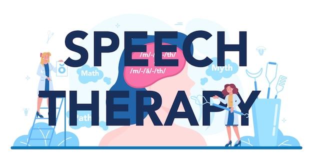 Nagłówek typograficzny terapii mowy.