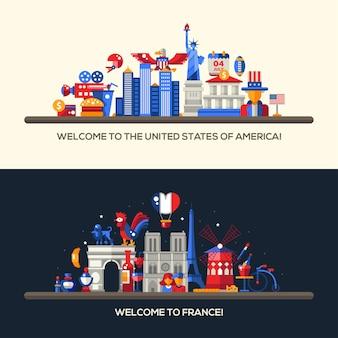 Nagłówki z ikonami i elementami infografiki z punktami orientacyjnymi i słynnymi symbolami francuskimi i amerykańskimi