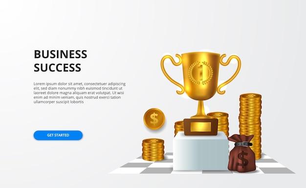 Nagradzaj odnoszący sukcesy biznes nagrodą finansową i osiągnięciami w postaci złotego dużego trofeum w 3d