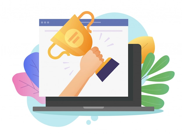 Nagradzaj zwycięzcę nagrody w postaci wektorów internetowych lub cyfrowych stron internetowych na laptopie