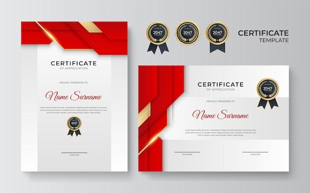 Nagradzany szablon certyfikatu. dyplom nowoczesnego wzornictwa lub bon upominkowy. ilustracja wektorowa w kolorze czerwonym i złotym motywem