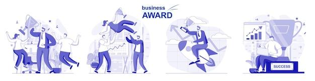 Nagroda biznesowa na białym tle zestaw w płaskiej konstrukcji ludzie świętują zwycięstwo zdobywają trofea wygrywające puchar