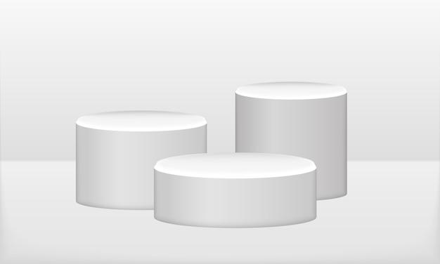 Nagroda dla zwycięzcy konkursu, platforma, etap. białe podium. stylowa modna ilustracja, projekt graficzny -3d, render.