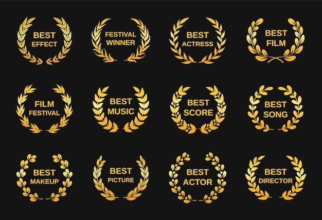Nagroda filmowa złoty film to nagroda dla najlepszego reżysera. emblematy nominacji festiwalu filmowego