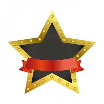 Nagroda gwiazda symbol z pustą wstążką banner