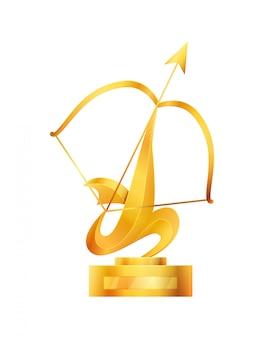 Nagroda lub puchar trofeum. nagrody sportowe triumph na pierwszym miejscu, ilustracja złoty puchar zwycięzcy. najlepsze osiągnięcie w zawodach