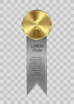 Nagroda medali na przezroczystym tle. koncepcja zwycięzcy.